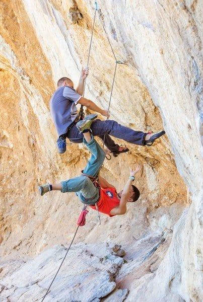 Felsklettern-Sichern-Bodensturz