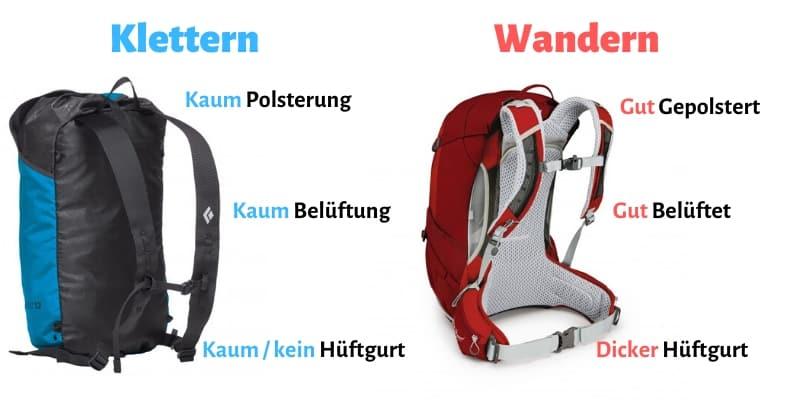 Kletterrucksack vs. Wanderrucksack