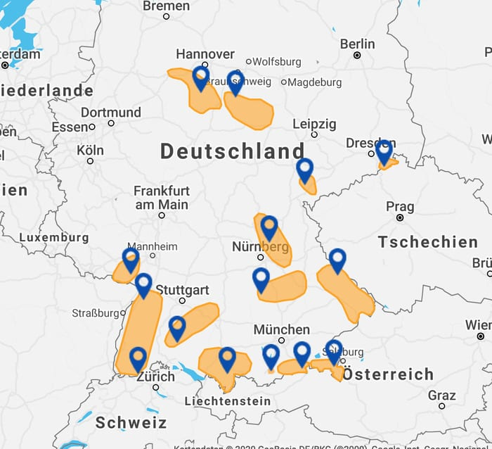 Klettern Deutschland Karte