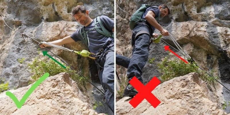 Klettersteig Tipp Karabiner schieben