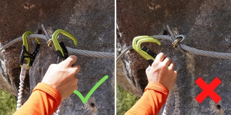 Klettersteig Technik Einhängen