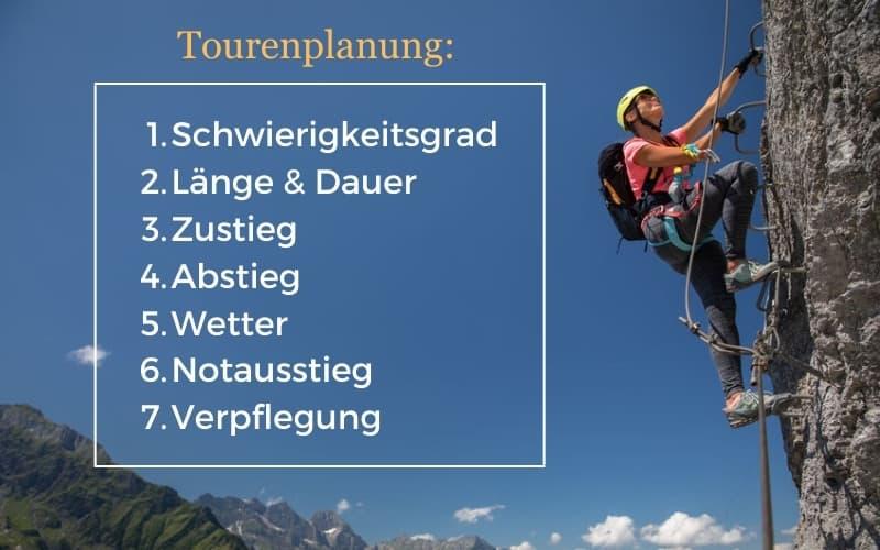 Klettersteig Tipps Tourenplanung